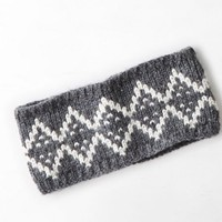 AEO Women's Printed Knit Headband (Charcoal)