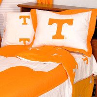 NCAA Tennessee Vols Bed Set Cotton Bedding: Full