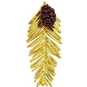 "Real Leaf & Cone REDWOOD Christmas Ornament 3.5"" in Yellow Gold & Copper"