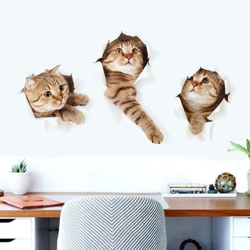 Fashionable 3D Cat Wall Sticker Animal Home Pet Shop Wall Decoration Picture