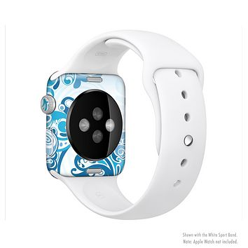 The Abstract Vibrant Blue Swirled Full-Body Skin Set for the Apple Watch