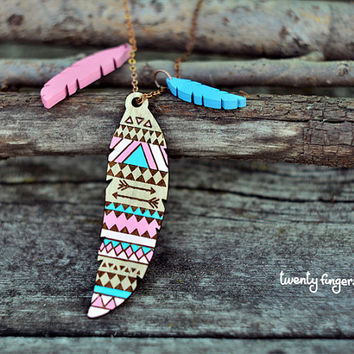 Pink & Blue Wood native pendant  feather laser by TheTwentyFingers