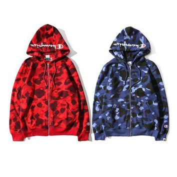 DCCK7XP Bape X Champion Camouflage Print Trending Hoodies Zippers Couple Casual Jacket Coat Sweater Blue