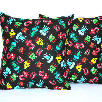 Set of 2 Black Children's Pillow Covers // Monsters Pillowcases // Monsters Pillow Covers // Kids Pillows // Kids Home Decor