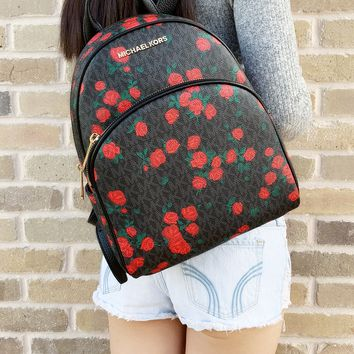Michael Kors Abbey Medium Backpack Black MK Red Rose