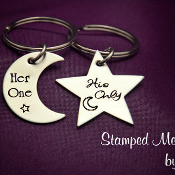 Her One, His Only - The Original - Hand Stamped Moon and Star Key Chains - Couples Matching Gift - Wedding, Anniversary or Birthday Present