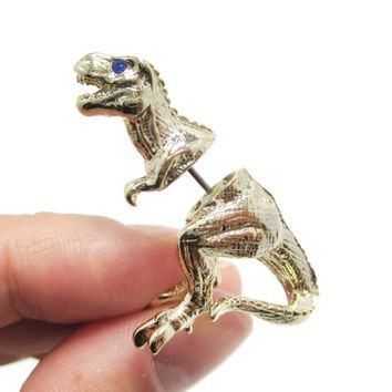 Fake Gauge Earrings: 3D Tyrannosaurus T-Rex Shaped Front and Back Stud Earrings in Gold