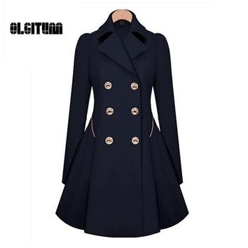2018 Women Trench Coat Classic Double Breasted Coat Thin Waist Windbreaker Autumn Winter Women Trench Female Long Sleeve Coat