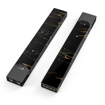 Skin Decal Kit for the Pax JUUL - Black & Gold Marble Swirl V10