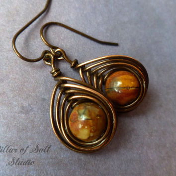 wire wrapped earrings, Copper earrings, wire wrapped jewelry handmade, wire jewelry, copper jewelry, earthy jewelry, Picasso Jasper