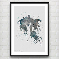 Harry Potter Poster, Dementor Watercolor Poster, Kids Room Wall Art Print, Minimalist Home Decor, Not Framed, Buy 2 Get 1 Free! [No. 28]