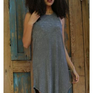 MINERAL WASH STRIPED TANK DRESS - ANGIE