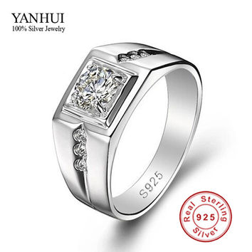 10 Big Promotion!!! Fine Jewelry Men Ring 925 Sterling Silver Wedding Rings for Men 0.5 Carat CZ Diamond Men Engagement Ring JZR056