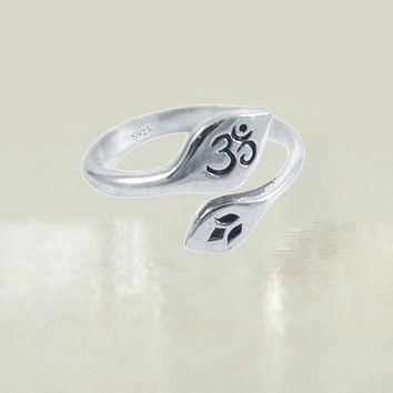 Om Lotus Adjustable Sterling Silver Ring