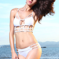 Strappy Cut-Out Bikini in White