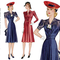 1940s Dress Pattern Bust 34 Simplicity 3472 Day or Evening Dress Sheer Overdress Short or Long Sleeve Womens Vintage Sewing Patterns