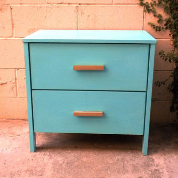 File Cabinet SOLD (Can make similar for you)  Vivid Turquoise Nightstand / 2 Drawer Storage Cabinet