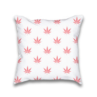 Vintage Coral Peach Cannabis Print Throw Pillowcase Only