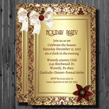 Printable Christmas Party Invitation-Damask-Holiday-New Years-Office Party-Formal-Wedding-DIY