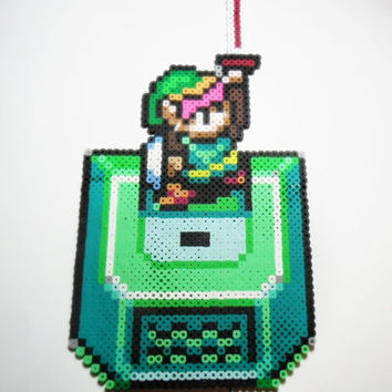 Zelda a Link to the Past perler bead sprite Link with Master Sword - video game art - geekery gifts - gifts for gamers