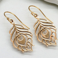 Gold Peacock Feather Earrings, Small Bronze