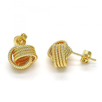 Gold Layered 02.63.2377 Stud Earring, Love Knot and Twist Design, Diamond Cutting Finish, Golden Tone