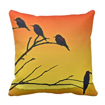 BIRDS IN TREE at SUNSET, Yellow Orange & Red Throw Pillow