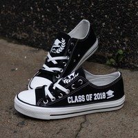 Class of 2018 Graduation Low Top Canvas Shoes Custom Printed Sneakers
