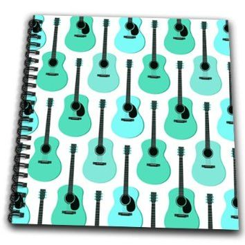 Janna Salak Designs Music - Blue Acoustic Guitars Pattern - Drawing Book 8 x 8 inch (db_204728_1)