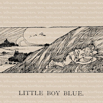 Vintage Clip Art Image – Little Boy Blue from 1909 Children's book – Printable Graphic Illustration – instant download - CU OK img 3001