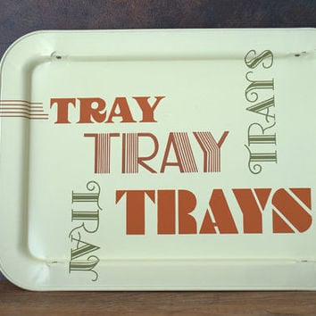 Retro Modern 1960s Typographic Metal TV Tray
