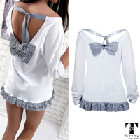 2017 Hot Sale sexy Lace bowknot O neck backless white long sleeve top tees t-shirt female best friends t shirt women clothing