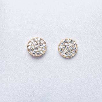 Sterling silver, gold plated sterling silver disc stud earring with micro-pave clear cz stones