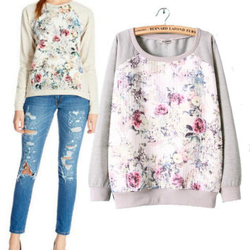 Floral Long Sleeve Pullover Sweatshirt