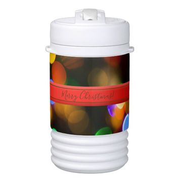 Multicolored Christmas lights. Add text or name. Beverage Cooler