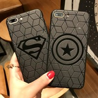 Ruo Dawn 2018 New Cartoon Shell For iphone X 6 6S 7 8 Plus Relief Phone Cases Soft Silicone Spiderman Batman Icon Back Cover