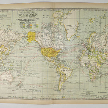 Vintage World Map on Mercators Projection 1899 Antique Map of World, Vintage Map Art Gift for Guy, 11 x 15 Map, Unique Traveler Gift