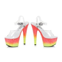 """6"""" Heel With Clear Ankle Strap Crystalized Platform"""
