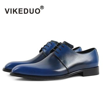Handmade Designer Vintage Fashion Casual Party Blue Dance Wedding Male Dress Genuine Leather Mens Derby Shoes