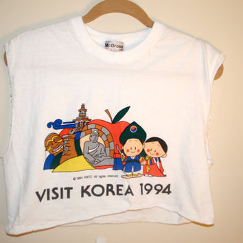 "white ""visit korea"" crop top"