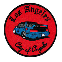 """Vintage 90's Style Los Angeles """"City of Angels"""" Import Low Rider Car Racing Shirt Patch Badge for Cap Hat 9cm"""