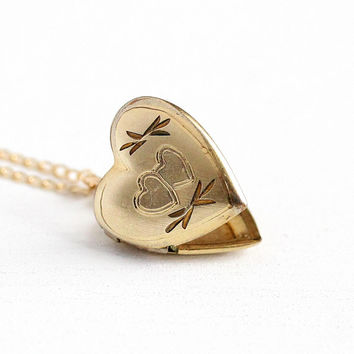 Vintage Children's Locket - 14k Rosy Yellow Gold Filled Heart Shaped Necklace Pendant - 1980s Estate Sara Monogram September 1986 Jewelry