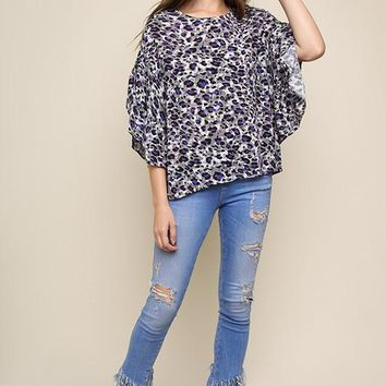 Multicolor Leopard Print Round Neck Top with Split Ruffle Sleeves - Purple Mix