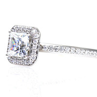 Platinum Princess Diamond Engagement Ring Custom Diamond Halo Setting Bridal Jewelry