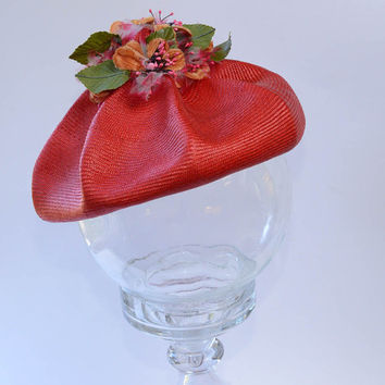 Vintage Red Hat with Millinery Flowers