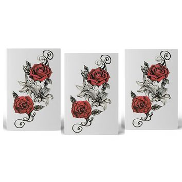 (Set of 3) Vintage Red Rose Temporary Tattoo