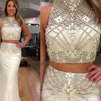 White Trumpet 2 Piece Prom Dresses 2017 Sexy Beading Crystal Satin Vestido De Formatura Formal Evening Dress For Women