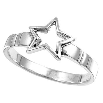 925 Sterling Silver Bright Star 8MM Ring