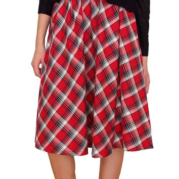 Campbell Plaid Flare Midi Skirt - Red/Navy