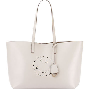 Anya Hindmarch Ebury Leather Smiley Shopper Tote Bag